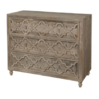 Three Drawer Chest W/Quatrefoil In White