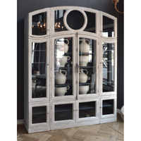 Glass Front Arched Cabinet Antique White