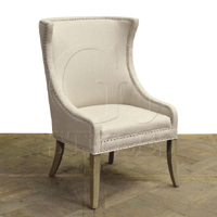 Linen Armchair W/ Wrap-Around Back