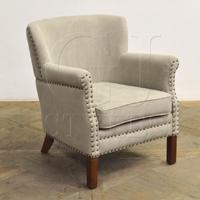 linen chair in khaki w nailhead trim camila lounge chair 07