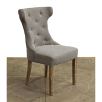 Scoop Back Tufted Side Chair Grey Linen