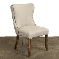 Linen Side Chair W/Tufted Detail On Back