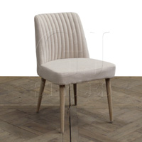 Linen Side Chair Tapered Washed Oak Leg
