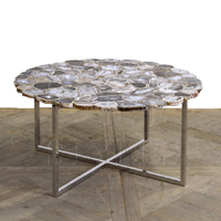 AGATE ROUND COFFEE TABLE IN CERULEAN