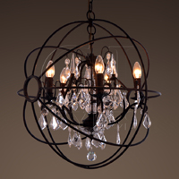 Orb Chandelier Rustic Iron & Crystal Sml