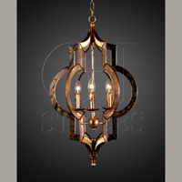 Mirrored Lantern In Distressed Gold