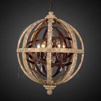 orb chandelier with iron u0026 wood