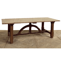 ARCHITECTURAL DINING TABLE W. PINE TOP